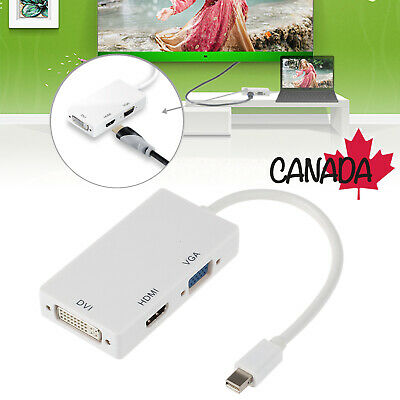 3in1 Mini DisplayPort DP Thunderbolt to DVI/VGA/HDMI Adapter for MacBook iMac CA