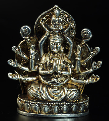 Collectable China Old Miao Silver Hand-Carved Thousand-Hand Kwan-yin Statue/Ab01