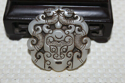 Chinese antique hand carved nobleman wearing white jade pendant