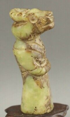 Chinese old natural jade hand-carved statue dragon pendant 3.5 inch