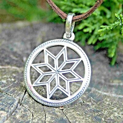Pagan Star Pendant Necklace ALATYR Amulet for Women Slavic Wiccan Jewelry SILVER