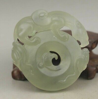 Chinese old natural jade hand-carved statue dragon pendant 2 inch