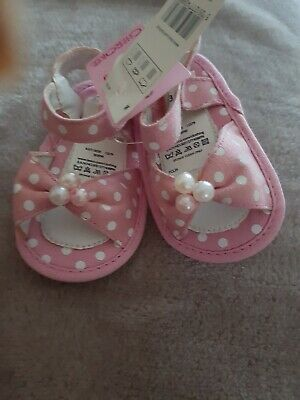 Pink polka dot velcro baby sandals. Size 0-3 months