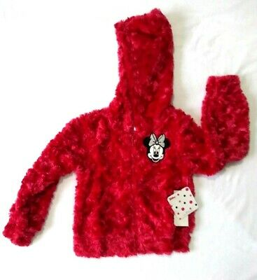 Girls Teddy Bear Fleece Coat Fluffy Faux Fur Jacket Minnie Mouse Age 3-4 years