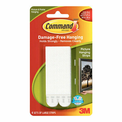 NEW 3M Command Large Picture Hanging Strips 4 Pack By Spotlight