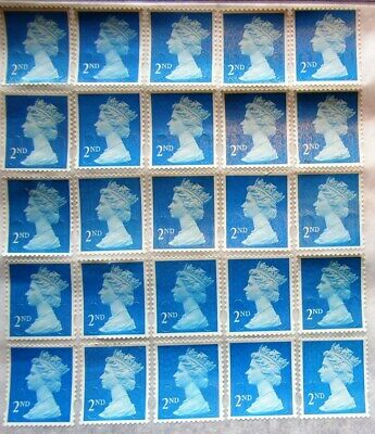 25 x 2nd Class Unfranked Security Stamps with Partial Original Gum FV £15.25