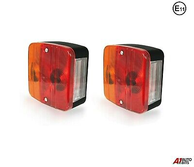 2x 12v Rear Tail Square Lights Lamps 4 Functions Trailer Caravan Truck Lorry E11