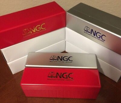 Lot of Four (2) SILVER & (2) RED New NGC Storage Box ~ Holds 20 NGC Slabs