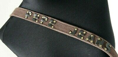 PEPE JEANS BELT Small, Brown Canvas Leather Trim Medium