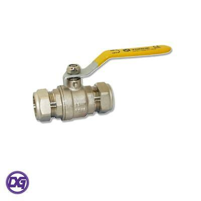 Genbra Gas Ball Valve - 28mm Compression Yellow Lever Handle