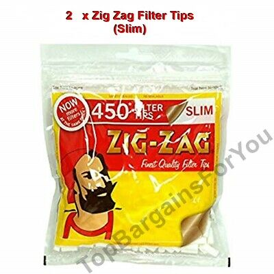 2 x ZIG ZAG RESEALABLE LARGE BAG OF 450 SLIM CIGARETTE FILTER TIPS - 900 TIPS