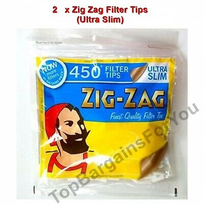 2 x ZIG ZAG RESEALABLE BAG OF 450 ULTRA SLIM CIGARETTE FILTER TIPS - 900 TIPS