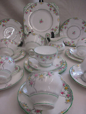 21 Piece New Chelsea Staffordshire Rosalie Floral Teaset Cups, Saucers, Cake M,S