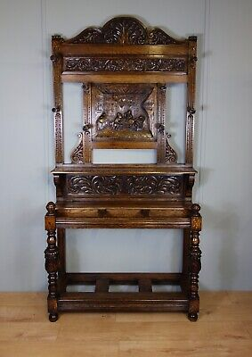 Carved Oak Victorian Hall Stand, nationwide delivery available