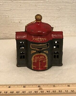 Cast Iron Presto Bank Mechanical Bank with Instructions