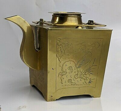 Chinese Antique Brass Teapot or Wine pot Signed - Bird Designs - Early c20th
