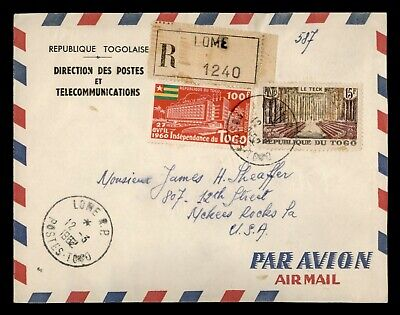 DR WHO 1962 TOGO LOME REGISTERED AIRMAIL TO USA  f05777