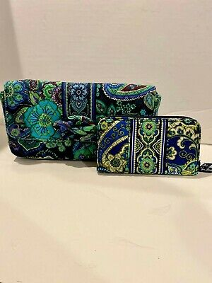 Vera Bradley Large Rhythm And Blues Paisley Multicolor Clutch and Wallet