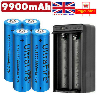 4* UltraFire 18650 9900mAh Battery 3.7v Li-ion Rechargeable Batteries+Charger UK
