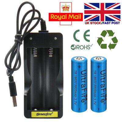 2PC Rechargeable Batteries UltraFire 9900mAh 18650 Battery 3.7v Li-ion + Charger