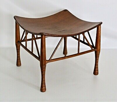 Liberty Egyptian Revival Thebes Ottoman Stool Table Arts Crafts Antique Old Wood
