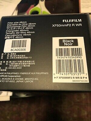 Fujifilm XF 50mm (76mm) F/2 WR Lens Black MINT Condition Under Warranty 4/21/19