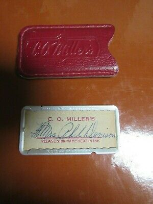 vintage metal credit card C O Miller's Leather Charge Plate service