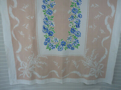 Vintage 100% Cotton Tablecloth Floral Peach/Blue 67x50