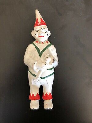 Antique 1920-30's Clown Cast Iron Penny Bank w/Original colors