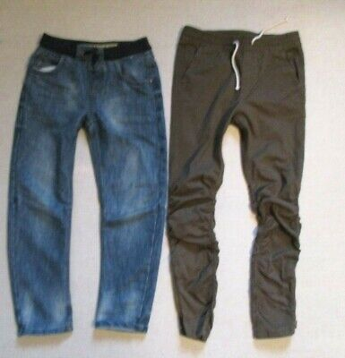 H&M and DENIM Co. Two Pairs of Boys Trousers Jeans Blue and Khaki  8-9 years