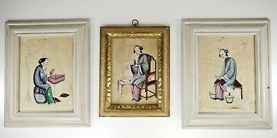Antique Chinese Rice Paper Watercolours of Ladies Preparing Woven Silk c19th