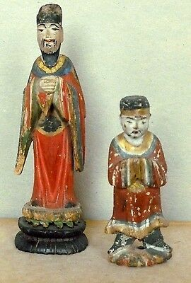 Antique Chinese Wood Figures Sculptures Hand carved and Polychrome C.1890