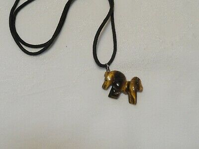 "Hand Carved Tiger Eye Horse Pendant 1-1/4"" Long Cord Necklace"