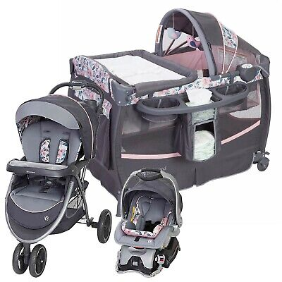 Baby Stroller Travel System Car Seat with Infant Toddler Playard Crib Combo New