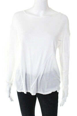 Haute Hoodie Womens Long Sleeve Scoop Neck Top White Size Small