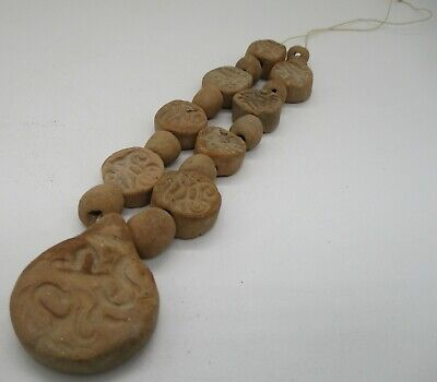 Ancient Islamic Clay Seal Beads Re-Strung Into A Necklace