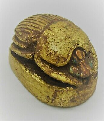 Circa 500 Bce Ancient Egyptian Gold Gilded Stone Scarab Bead Seal Beautiful