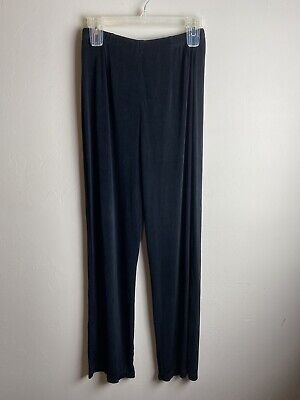 Chicos Travelers Womens Slinky Pants Size 1 Black Acetate Material Xz