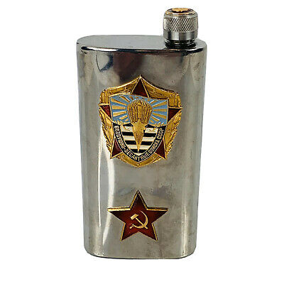 Soviet Airborne Corps Stainless Flask Lenin Cap CCCP Stamp
