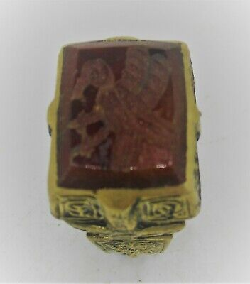 Late Medieval Islamic Ottomans Gold Gilded Seal Ring With Agate Stone