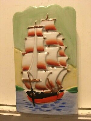 Vintage Ceramic Sailing Ship Wall Pocket from Japan