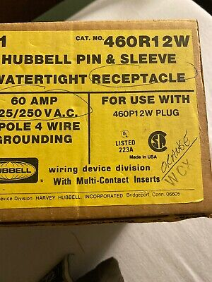 460R12W HUBBELL 60 AMP RECEPTACLE  New In Box