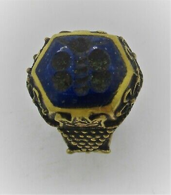 Late Medieval Islamic Ottomans Gold Gilded Seal Ring With Lapis Lazuli Stone