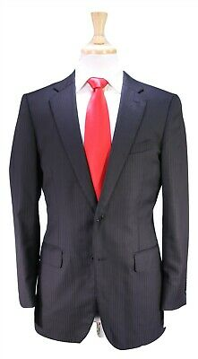 PAUL STUART Recent Black Tonestripe Wool-Silk by Loro Piana 2-Btn Suit 38S