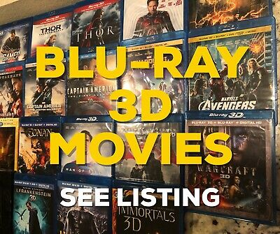 Blu-ray 3D movies - RARE movies! Excellent price! See listing for titles!
