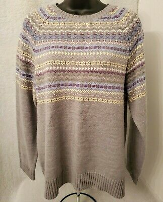 Two Hearts Maternity Womens Multi Color Striped Sweater Top Size L