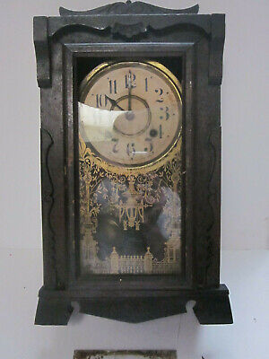 Antique New Haven Clock Co Tall Mantel Clock With Original Pendulum For Parts