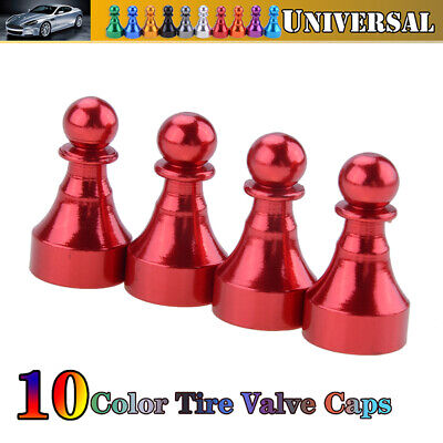 4pc/Set Red Chess Car Bike Wheel Tyre Valve Stems Air Dust Cover Cap For BMW VW