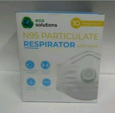 1 BOX=10 N95 Masks Eco Solutions Particulate Respirators Exhalation Valve.