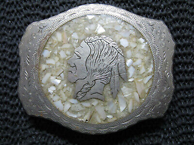 Western Indian Chief Mother Of Pearl Inlaid Belt Buckle! Vintage! Rare! Handmade
